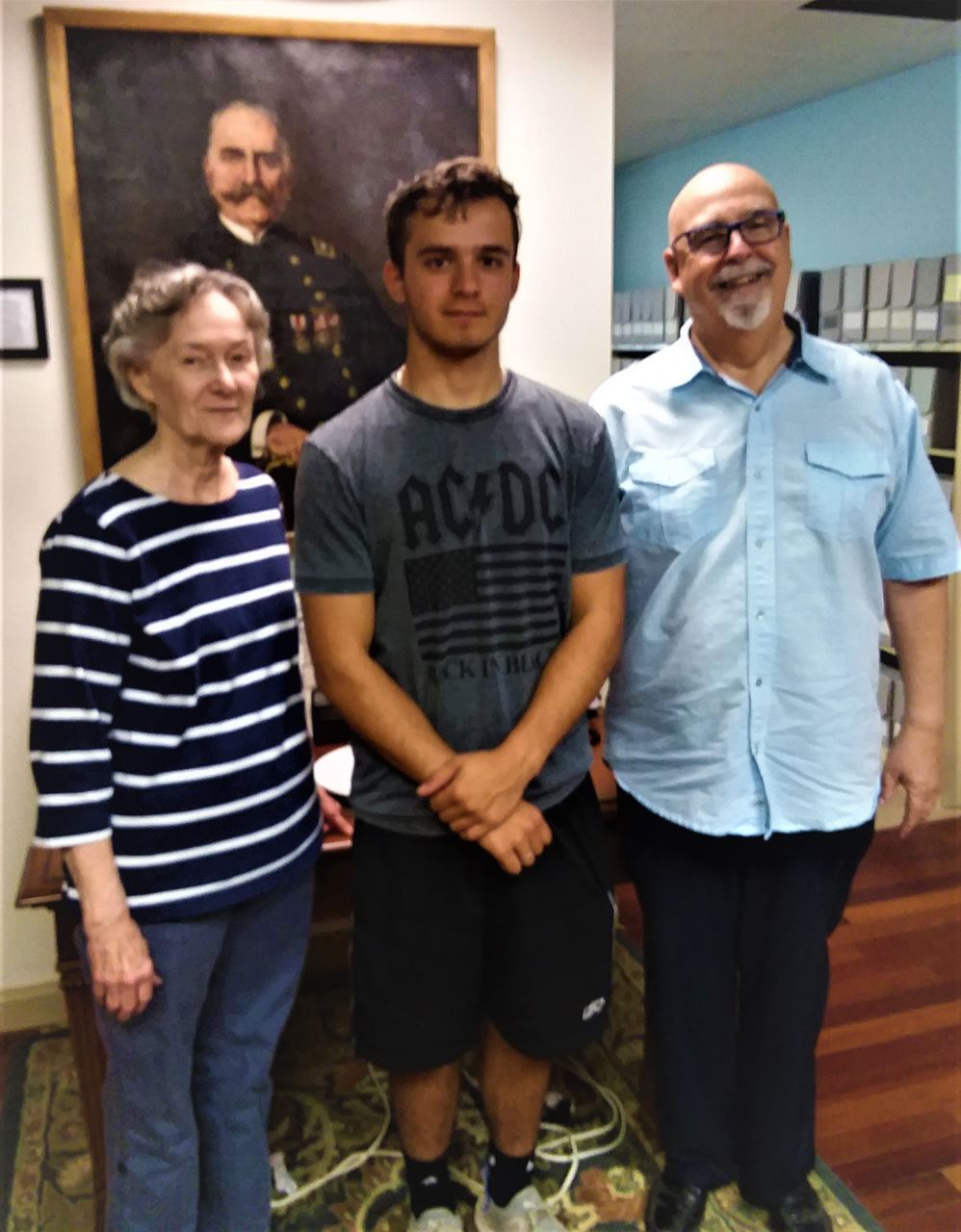 Curator, Mary Frazier stands with Intern, Maximilian Wagner and Supervisory Director, Robert Harris